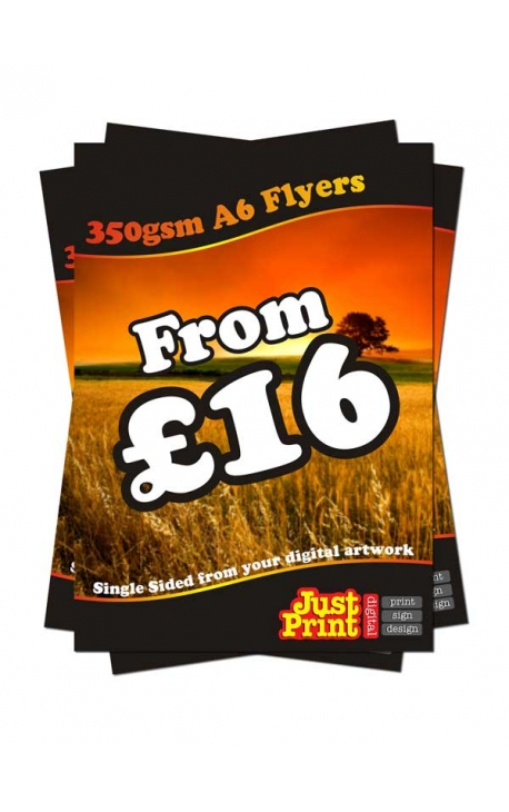 50 A6 Single Sided Flyers on 350gsm