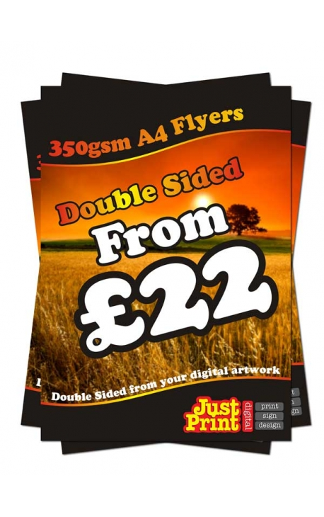 25 A4 Single Sided Flyers on 350gsm