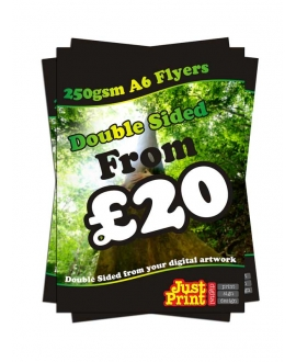 25 Double Sided A6 Fliers on 250gsm