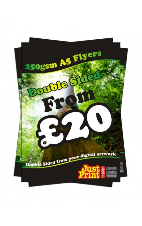 25 Double Sided A5 Flyers on 250gsm