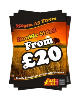 25 Double Sided A5 Flyers on 350gsm