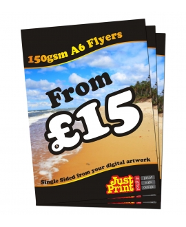 25 A6 Single Sided Flyers on 150gsm