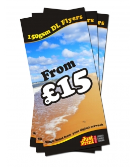 25 DL single sided Flyers on 150gsm