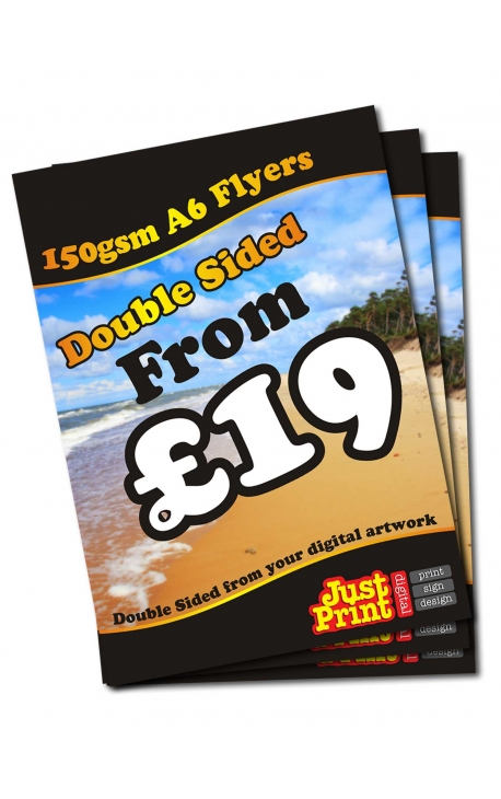 50 Double Sided A6 Flyers on 150gsm