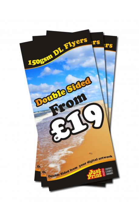 25 Double Sided DL Flyers on 150gsm
